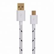 Кабель USB 2.0 Am=>micro B - 1.0 м, тканевая оплетка, белый, Oxion DCC288WH