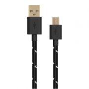 Кабель USB 2.0 Am=>micro B - 1.0 м, тканевая оплетка, черный, Oxion DCC288BK