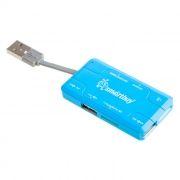 HUB 3-port SmartBuy Combo Blue с универсальным картридером (SBRH-750-B)