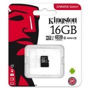 Карта памяти Micro SDHC 16Gb Kingston Class 10 Canvas Select UHS-I U1, 80 Мб/с (SDCS/16GBSP)