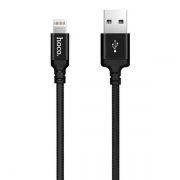 Кабель USB 2.0 Am=>Apple 8 pin Lightning, 1 м, ткан. оплетка, черный, Hoco X14 Times speed