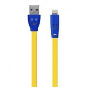 Кабель USB 2.0 Am=>Apple 8 pin Lightning, 1 м, плоский, подсветка коннектора, желтый, Oxion DCC019
