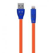 Кабель USB 2.0 Am=>Apple 8 pin Lightning, 1 м, плоский, подсветка коннектора, оранж., Oxion DCC019