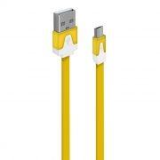 Кабель USB 2.0 Am=>micro B - 1.0 м, плоский, желтый, Oxion DCC328