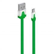 Кабель USB 2.0 Am=>micro B - 1.0 м, плоский, зеленый, Oxion DCC328GR