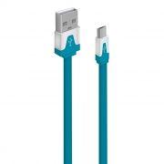 Кабель USB 2.0 Am=>micro B - 1.0 м, плоский, синий, Oxion DCC328