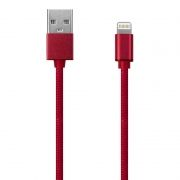 Кабель USB 2.0 Am=>Apple 8 pin Lightning, 1 м, ткан. оплетка, метал. разъем, вишн., Oxion DCC004