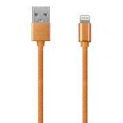 Кабель USB 2.0 Am=>Apple 8 pin Lightning, 1 м, ткан. оплетка, метал. разъем, золот., Oxion DCC004