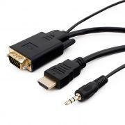 Кабель HDMI - VGA, 19M/15M + 3.5 audio, 10 м, позол. разъемы, черный, Cablexpert (A-HDMI-VGA-03-10M)