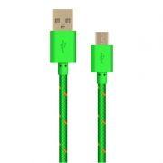 Кабель USB 2.0 Am=>micro B - 1.0 м, тканевая оплетка, зеленый, Oxion DCC288GR