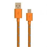 Кабель USB 2.0 Am=>micro B - 1.0 м, тканевая оплетка, оранжевый, Oxion DCC288OG