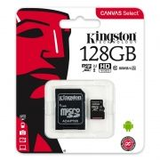 Карта памяти Micro SDXC 128Gb Kingston Canvas Select Class 10 UHS-I U1, 80 Мб/с + адаптер SD