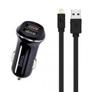 Зарядное автомобильное устройство Hoco Z1 2.1A 2xUSB + кабель Lightning, черное