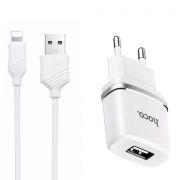 Зарядное устройство Hoco C11 1А USB + кабель Lightning, белое (0L-00037573)