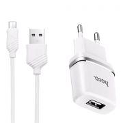 Зарядное устройство Hoco C11 1А USB + кабель microUSB, белое (0L-00037574)