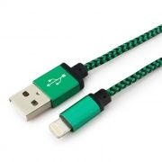 Кабель USB 2.0 Am=>Apple 8 pin Lightning, 1 м, нейлон, метал., зеленый, Cablexpert (CC-ApUSB2gn1m)