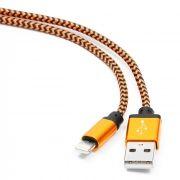 Кабель USB 2.0 Am=>Apple 8 pin Lightning, 1 м, нейлон, метал., оранжевый, Cablexpert (CC-ApUSB2oe1m)