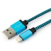 Кабель USB 2.0 Am=>Apple 8 pin Lightning, 1 м, нейлон, метал., синий, Cablexpert (CC-ApUSB2bl1m)