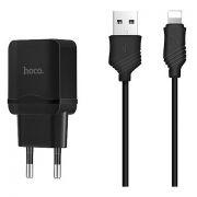 Зарядное устройство Hoco C22A 2.4А USB + кабель Lightning, черное