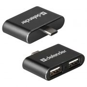 HUB 2-port Defender Quadro Dual USB2.0, подключение к Type C (83207)