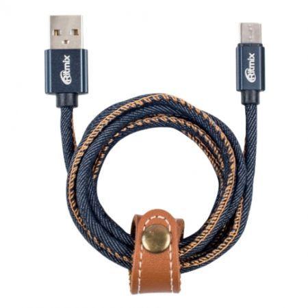 Кабель USB 2.0 Am=>micro B - 1.0 м, джинс. оплетка, метал. разъемы, Ritmix RCC-417