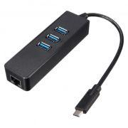Сетевая карта USB Type C - RJ45 1 Гбит/с + HUB 3 порта USB 3.0, ORIENT JK-341
