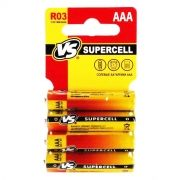 Батарейка AAA VS R03/4SHRINK CARD, Supercell, солевая, 4 шт