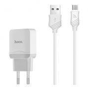 Зарядное устройство Hoco C22A 2.4А USB + кабель microUSB, белое