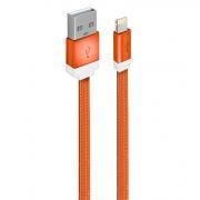 Кабель USB 2.0 Am=>Apple 8 pin Lightning, плоский, 1 м, нейлон, оранжевый, Oxion DCC235OG