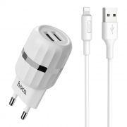 Зарядное устройство Hoco C41A 2.4А 2xUSB + кабель Lightning, белое