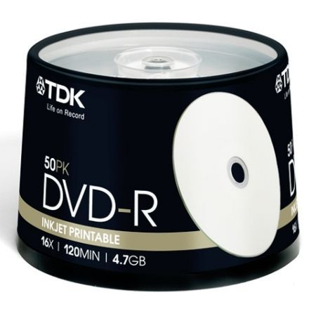 Диск DVD-R TDK 4,7 Gb 16x Printable, Cake Box, 50 шт (t19914)