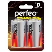 Батарейка D Perfeo Dynamic Zinc R20/2BL, солевая, 2 шт, блистер