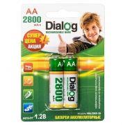 Аккумулятор AA Dialog HR6-2BL 2800мА/ч Ni-Mh, 2шт, блистер