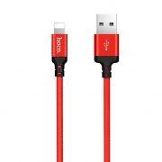 Кабель USB 2.0 Am=>Apple 8 pin Lightning, 1 м, ткан. оплетка, черно-красный, Hoco X14 Times speed