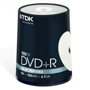 Диск DVD+R TDK 4,7 Gb 16x Printable, Cake Box, 100шт (t19920)
