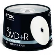 Диск DVD+R TDK 4,7 Gb 16x Printable, Cake Box, 50шт (t19919)