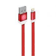 Кабель USB 2.0 Am=>Apple 8 pin Lightning, плоский, 1 м, нейлон, красный, Oxion DCC235RD