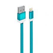 Кабель USB 2.0 Am=>Apple 8 pin Lightning, плоский, 1 м, нейлон, синий, Oxion DCC235BL