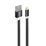 Кабель USB 2.0 Am=>Apple 8 pin Lightning, плоский, 1 м, нейлон, черный, Oxion DCC235BK