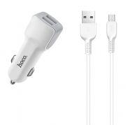 Зарядное автомобильное устройство Hoco Z23 2.4A 2xUSB + кабель microUSB, белое