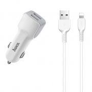 Зарядное автомобильное устройство Hoco Z23 2.4A 2xUSB + кабель Lightning, белое