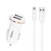 Зарядное автомобильное устройство Hoco Z1 2.1A 2xUSB + кабель microUSB, белое