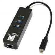 Сетевая карта USB Type C - RJ45 1 Гбит/с + HUB 3 порта USB 3.0, 5bites (UA3C-45-10BK)