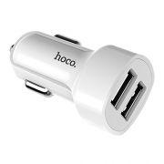 Зарядное автомобильное устройство Hoco Z2A 2.4A 2xUSB, белое