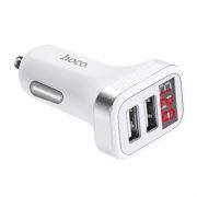 Зарядное автомобильное устройство Hoco Z3 3.1A 2xUSB, дисплей, белое