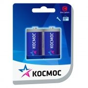 Батарейка C КОСМОС R14, солевая, 2шт, SHRINK CARD