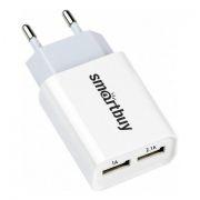 Зарядное устройство SmartBuy FLASH, 2.1A + 1A, 2 USB, белое (SBP-2011)