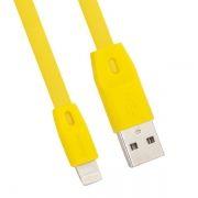 Кабель USB 2.0 Am=>Apple 8 pin Lightning, 1 м, плоский, желтый, REMAX RC-001i (0L-00034487)