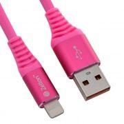 Кабель USB 2.0 Am=>Apple 8 pin Lightning, 1 м, розовый, Zetton (ZTUSBRSTPKA8)
