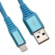 Кабель USB 2.0 Am=>Apple 8 pin Lightning, 1 м, синий, Zetton (ZTUSBRSTBEA8)